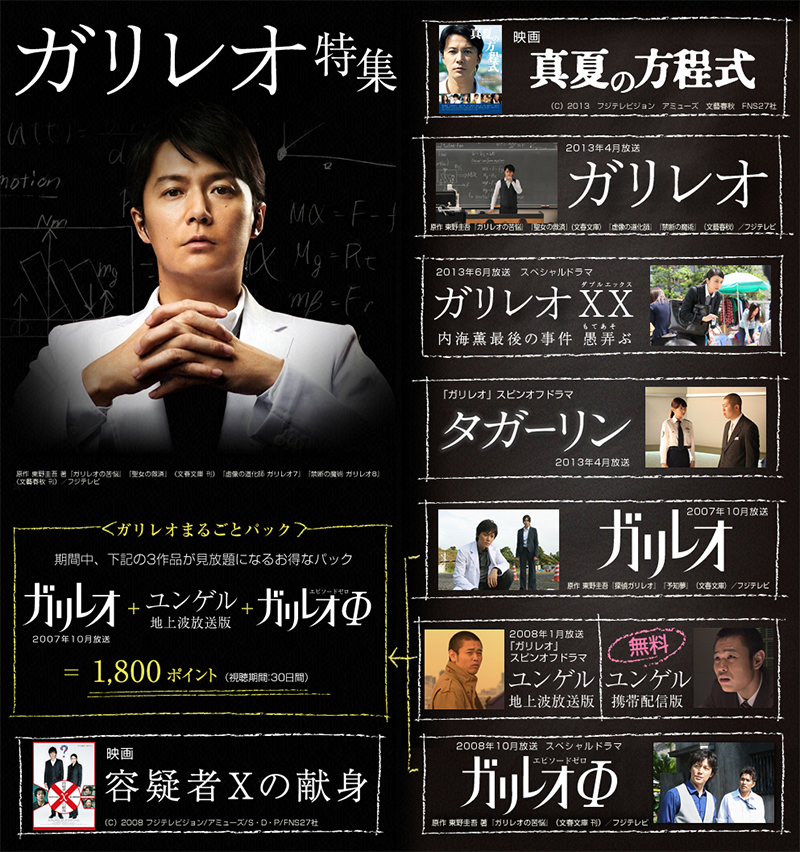 Webページ「ガリレオ特集」/FOD(フジテレビオンデマンド)